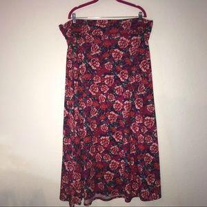 Pink Roses Maxi Skirt LuLaRoe LuLaRoe 2X EUC